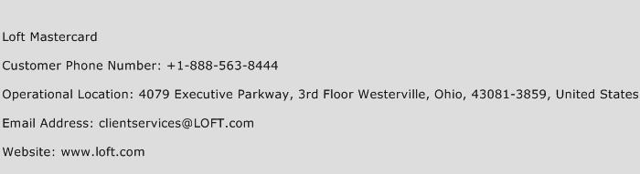 Loft Mastercard Phone Number Customer Service