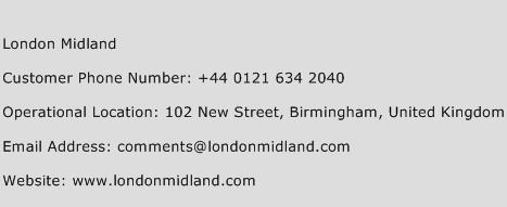 London Midland Phone Number Customer Service