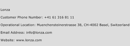 Lonza Phone Number Customer Service