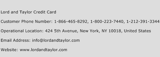 Lord and Taylor Credit Card Phone Number Customer Service