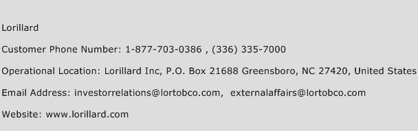 Lorillard Phone Number Customer Service