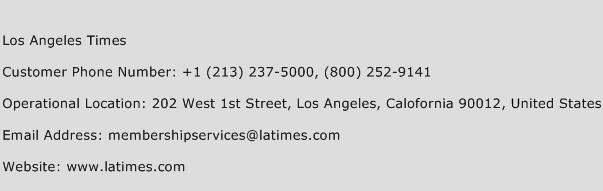 Los Angeles Times Phone Number Customer Service