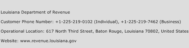 Louisiana Department of Revenue Phone Number Customer Service
