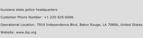 Louisiana State Police Headquarters Phone Number Customer Service