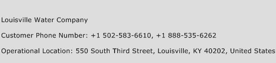 Louisville Water Company Phone Number Customer Service