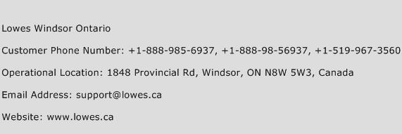 Lowes Windsor Ontario Phone Number Customer Service