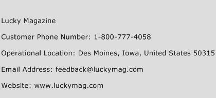 Lucky Magazine Phone Number Customer Service