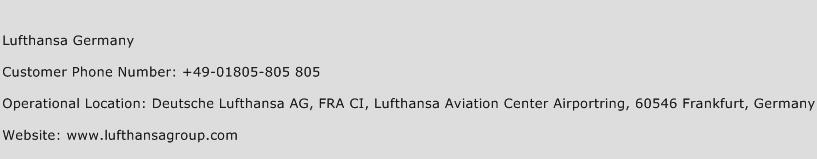 Lufthansa Germany Phone Number Customer Service