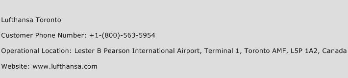 Lufthansa Toronto Phone Number Customer Service