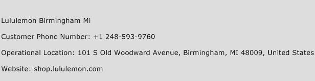 Lululemon Birmingham MI Phone Number Customer Service