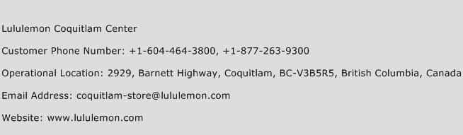 Lululemon Coquitlam Center Phone Number Customer Service