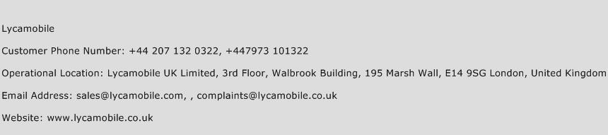 Lycamobile Phone Number Customer Service
