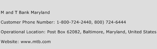M And T Bank Maryland Phone Number Customer Service