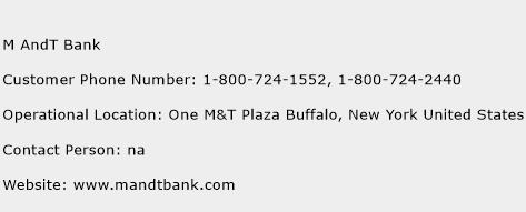 M AndT Bank Phone Number Customer Service