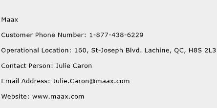 MAAX Phone Number Customer Service