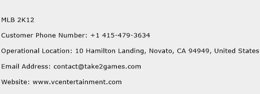 MLB 2K12 Phone Number Customer Service