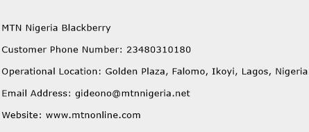 MTN Nigeria Blackberry Phone Number Customer Service