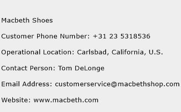 Macbeth Shoes Phone Number Customer Service