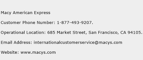 macy american express customer service phone number