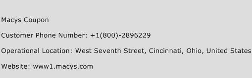 Macys Coupon Phone Number Customer Service