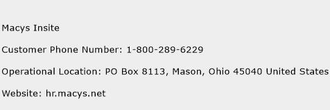 Macys Insite Phone Number Customer Service