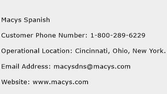 macys spanish customer service phone number contact