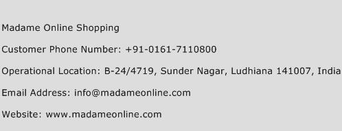 Madame Online Shopping Phone Number Customer Service
