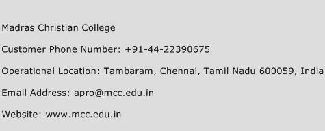 Madras Christian College Phone Number Customer Service