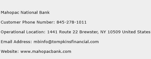 Mahopac National Bank Phone Number Customer Service