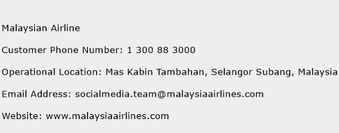 Malaysian Airline Phone Number Customer Service