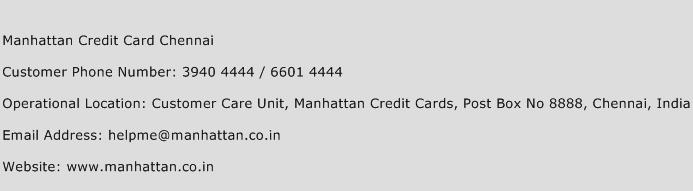 Manhattan Credit Card Chennai Phone Number Customer Service