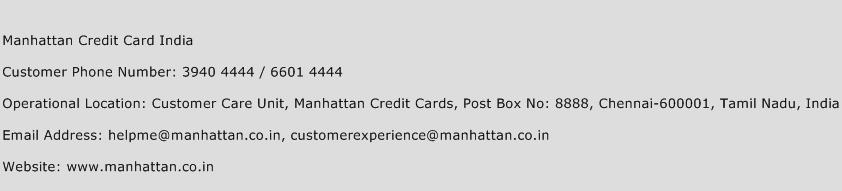 Manhattan Credit Card India Phone Number Customer Service
