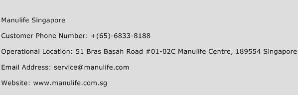 Manulife Singapore Phone Number Customer Service