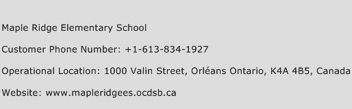 Maple Ridge Elementary School Phone Number Customer Service