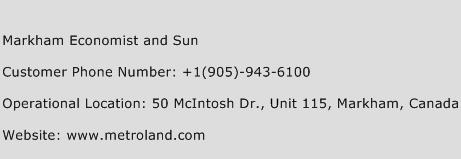 Markham Economist and Sun Phone Number Customer Service
