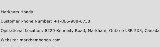 Markham Honda Phone Number Customer Service