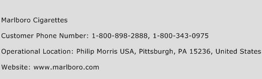 Marlboro Cigarettes Phone Number Customer Service