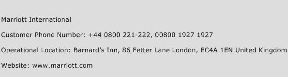 Marriott International Phone Number Customer Service