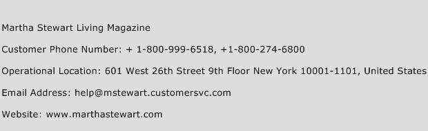 martha stewart living magazine customer service phone number