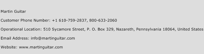 Martin Guitar Phone Number Customer Service