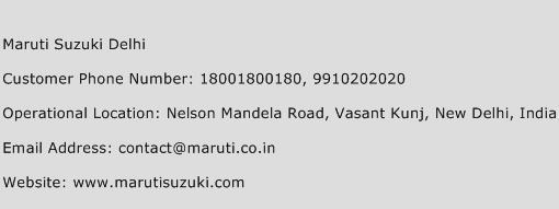 Maruti Suzuki Delhi Phone Number Customer Service