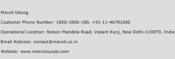 Maruti Udyog Phone Number Customer Service