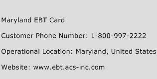 Maryland EBT Card Phone Number Customer Service