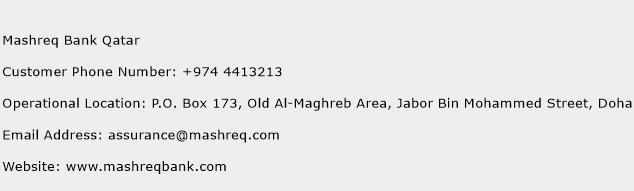 Mashreq Bank Qatar Phone Number Customer Service