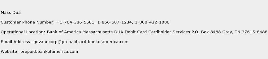Mass Dua Phone Number Customer Service