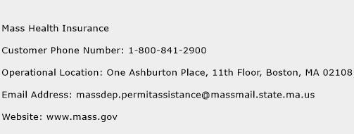 Mass Health Insurance Phone Number Customer Service
