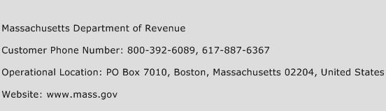 Massachusetts Department of Revenue Phone Number Customer Service