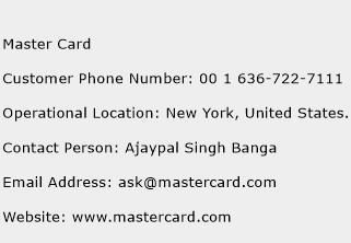 Master Card Phone Number Customer Service