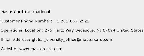 MasterCard International Phone Number Customer Service