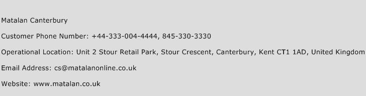 Matalan Canterbury Phone Number Customer Service